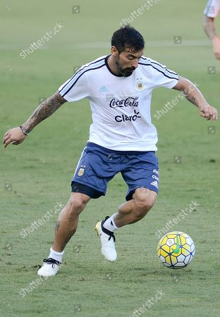 Stock Picture of Argentina's Ezequiel Lavezzi practices during a training session in Belo Horizonte, Brazil, . Argentina will face Brazil in a 2018 World Cup qualifying soccer match on Thursday