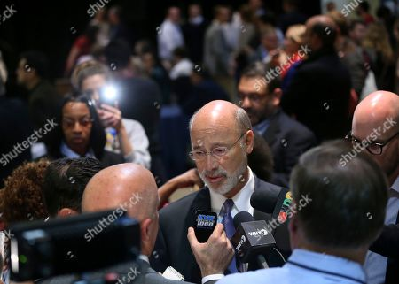 Tom Wolf Pennsylvania Gov. Tom Wolf answers a question at an election night party for Pennsylvania Democratic Senate candidate Katie McGinty, in Philadelphia. The most expensive political race in U.S. Senate history, Pennsylvania's contest between Republican Sen. Pat Toomey and Democratic challenger Katie McGinty, could help decide control of the chamber