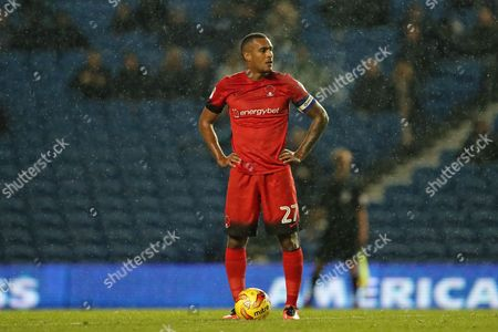 Leyton Orient striker Jay Simpson (27) during the EFL Trophy Southern Group G match between U23 Brighton and Hove Albion and Leyton Orient at the American Express Community Stadium, Brighton and Hove