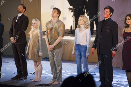Stock Picture of Tom Parsons (Michael), Sophia Anne Caruso (Girl), Michael C Hall (Thomas Jerome Newton), Amy Lennox (Elly) and Michael Esper (Valentine) during the curtain call