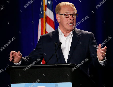 Stock Photo of Ted Strickland Ohio Democratic Senate candidate and former Ohio Gov. Ted Strickland gives his concession speech during the Ohio Democratic Party's election-night watch party, in Columbus, Ohio