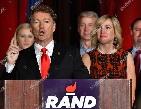 Rand Paul, Kelley Paul Sen. Rand Paul, R-Ky. addresses the crowd gathered at his victory celebration, in Louisville Ky. Right is his wife Kelley Paul