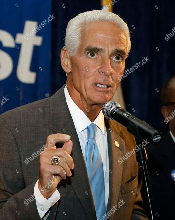 Charlie Crist Former Florida Gov. Charlie Crist gestures as he talks to supporters after being elected to the U.S. House of Representatives, in St. Pete Beach, Fla. Crist defeated Republican opponent David Jolly