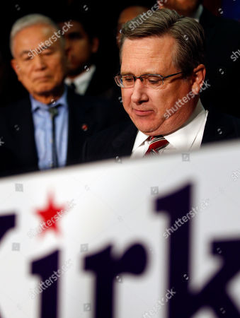 Mark Kirk Republican U.S. Sen. Mark Kirk pauses a moment while talking to supporters and reporters following his loss to Democratic U.S. Rep. Tammy Duckworth in Northbrook, Ill