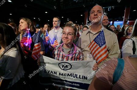 Stock Picture of Supporters listen to Independent presidential candidate Evan McMullin speak during a election night watch party after Republican Donald Trump won Utah, in Salt Lake City. Trump won Utah's six electoral votes