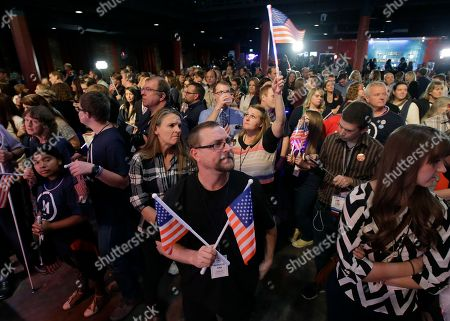 Supporters wait for independent presidential candidate Evan McMullin to speak during a election night watch party after Republican Donald Trump won Utah, in Salt Lake City