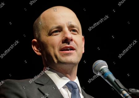 Stock Photo of Evan McMullin Independent presidential candidate Evan McMullin speaks to his supporters during a election night watch party after Republican Donald Trump won Utah, in Salt Lake City