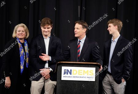 Indiana Democratic Senate candidate Evan Bayh speaks at a election night rally with his family, in Indianapolis. Bayh was defeated by Rep. Todd Young for one of Indiana's U.S. Senate seats