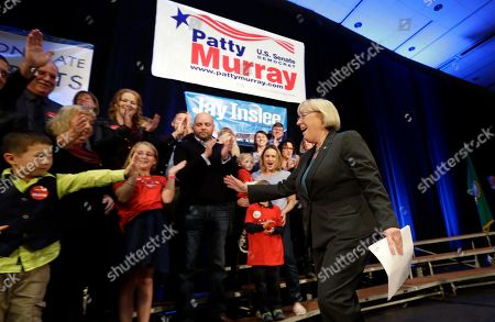 Patty Murray Sen. Patty Murray, D-Wash., right, greets family members as she takes the stage at an election night party for Democrats, in Seattle. Murray was elected to her fifth term as she defeated Republican Chris Vance