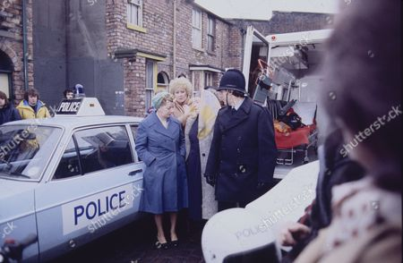 Jean Alexander (as Hilda Ogden) Elizabeth Dawn (as Vera Duckworth) and Violet Carson (as Ena Sharples)