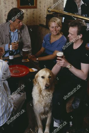 Stock Image of Julian Griffen (as Rick) with Frazer Hines (Joe Sugden) (Episode 1582 - 13th August 1991)