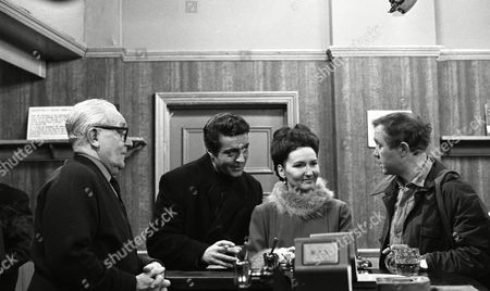 Coronation Street 1969 B787  Arthur Leslie (as Jack Walker) Paul Stassino (as Miklos Zadic) Eileen Derbyshire (as Emily Nugent) and Graham Haberfield (as Jerry Booth)
