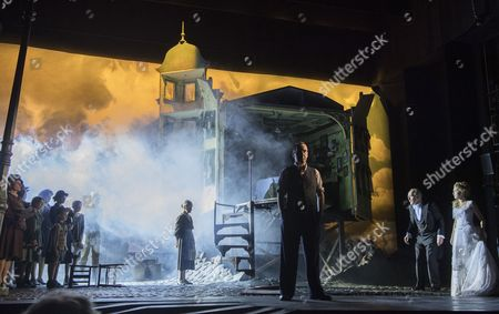 Liam Brennan as Inspector Gould, Clive Francis as Mr Birling, Carmela Corbett as Sheila