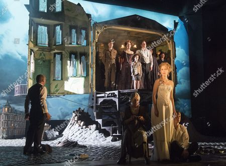 Clive Francis as Mr Birling, Diana Payne-Myers as Edna, Carmela Corbett as Sheila, Hamish Riddle as Eric