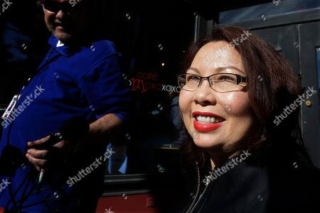Stock Photo of Democratic U.S. Rep. Tammy Duckworth speaks to reporters, in Springfield, Ill. Duckworth unseated Republican U.S. Sen. Mark Kirk in Tuesday's election