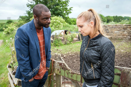 Micah Balfour (as Jermaine Bailey) tells Eden Taylor-Draper (as Belle Dingle) he's got a job but it's in America. He tells her he won't go to Boston without her and she's torn. (Episode 7684 - Fri 2nd Dec 2016)