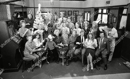 Coronation Street Nov 1987 P439  Back row l to r  William Tarmey (as Jack Duckworth) Julie Goodyear (as Bet Lynch) Sue Jenkins (as Gloria Todd) Bill Waddington (as Percy Sugden) Kevin Kennedy (as Curly Watts) Tom Mennard (as Sam Tindall) Middle row l to r Sue Nicholls (as Audrey Roberts) Lynne Perrie (as Ivy Tilsley) Cast Member Jean Alexander (as Hilda Ogden) Sally Dynevor (as Sally Webster) Sally Ann Matthews (as Jenny Bradley) Elizabeth Dawn (as Vera Duckworth) Mark Eden (as Alan Bradley) Front row l to r Thelma Barlow (as Mavis Wilton) Helen Worth (as Gail Tilsley) Cast Member Jill Summers (as Phyllis Pearce) Eileen Derbyshire (as Emily Bishop) William Roache (as Ken Barlow) Anne Kirkbride (as Deirdre Barlow) and Johnny Briggs (as Mike Baldwin)