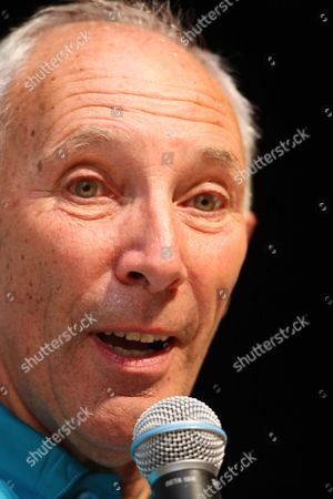 Stock Image of Phil Liggett GBr Television speaker for cycling