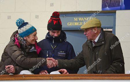 Tattersalls. November NH Sale. Leading owner TREVOR HEMMINGS meets up with Rachel Robinson of Rathbarry Stud with jockey Damien Murphy between.