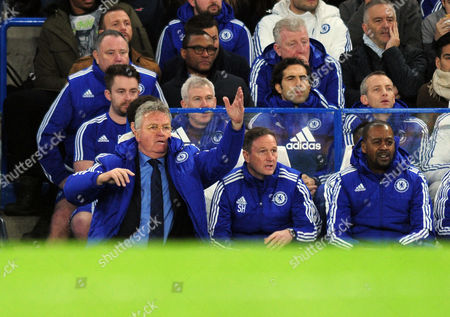 Football - 2015 / 2016 Premier League - Chelsea vs Watford New Chelsea Caretaker Manager Guus Hiddink with coaches Steve Holland and Eddie Newton (right) at Stamford Bridge