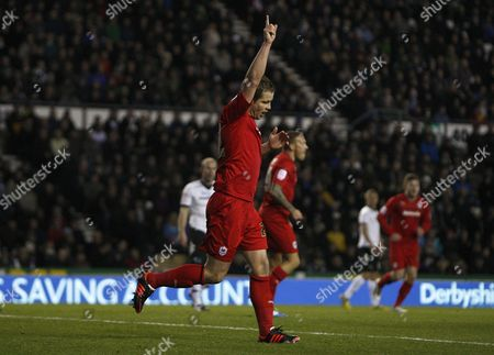 Football - 2012 / 2013 npower Championship - Derby County vs Cardiff City Cardiff City's Heidar Helguson celebrates scoring the first goal at Pride Park