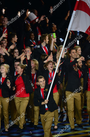 2014 Glasgow Commonwealth Games - Opening Ceremony The England team lead by flag-bearer Nick Matthew (squash) arrive at Celtic Park Scotland Glasgow