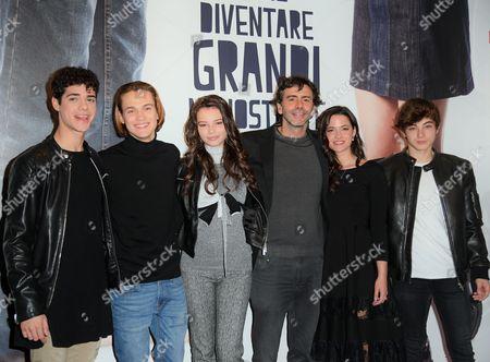 The director Luca Lucini with cast Emanuele Misuraca, Saul Nanni, Eleonora Gaggero, Chiara Primavesi, Federico Russo