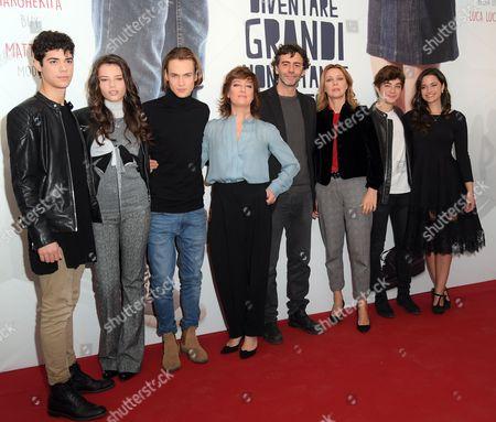 The director Luca Lucini with cast Emanuele Misuraca, Eleonora Gaggero, Saul Nanni, Giovanna Mezzogiorno, Margherita Buy, Federico Russo, Chiara Primavesi