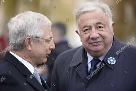 French National Assembly President Claude Bartolone and French Senate President Gerard Larcher during the commemoration of the 98th anniversary of 1918 Armistice Day in Paris