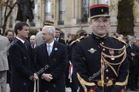 French Prime Minister and French National Assembly President Claude Bartolone during the commemoration of the 98th anniversary of 1918 Armistice Day in Paris