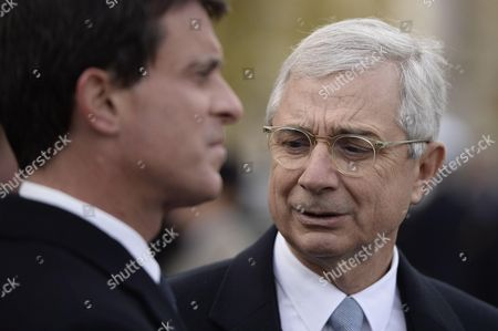 French Prime Minister Manuel Valls and French National Assembly President Claude Bartolone during the commemoration of the 98th anniversary of 1918 Armistice Day in Paris