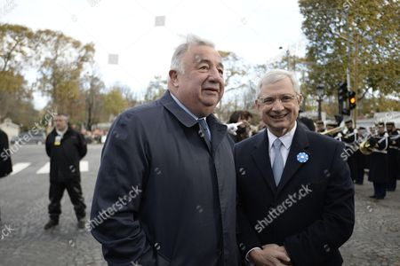 French Senate President Gerard Larcher and French National Assembly President Claude Bartolone during the commemoration of the 98th anniversary of 1918 Armistice Day in Paris