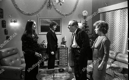Coronation Street Dec 1979 E494  Mary Tamm (as Polly Ogden) Don Hawkins (as Trevor Ogden) Bernard Youens (as Stan Ogden) and Jean Alexander (as Hilda Ogden)