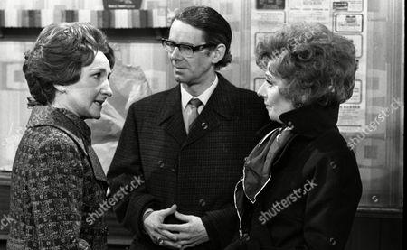 Coronation Street Dec 1979 E494  Eileen Derbyshire (as Emily Bishop) Stephen Hancock (as Ernest Bishop) and Barbara Knox (as Rita Fairclough)