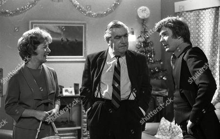 Coronation Street Dec 1979 E494  Jean Alexander (as Hilda Ogden) Bernard Youens (as Stan Ogden) and Don Hawkins (as Trevor Ogden)