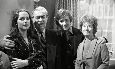 Coronation Street Dec 1979 E494 Mary Tamm (as Polly Ogden) Bernard Youens (as Stan Ogden) Don Hawkins (as Trevor Ogden) and Jean Alexander (as Hilda Ogden)