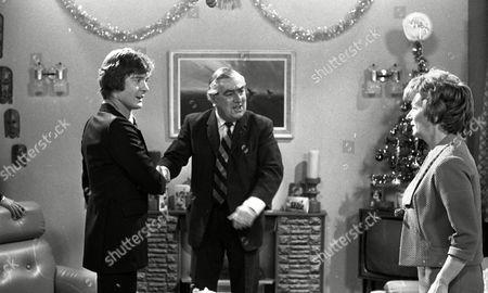 Coronation Street Dec 1979 E494  Don Hawkins (as Trevor Ogden) Bernard Youens (as Stan Ogden) and Jean Alexander as Hilda Ogden)