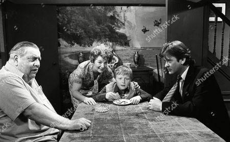 Coronation Street Jun 1985 L287  Bernard Youens (as Stan Ogden) Jean Alexander as Hilda Ogden), Cast Member and Don Hawkins (as Trevor Ogden)
