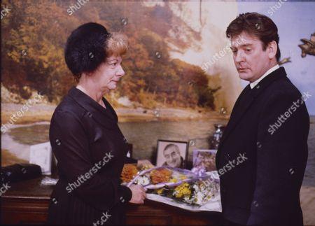 Jean Alexander (as Hilda Ogden) and Don Hawkins (as Trevor Ogden)