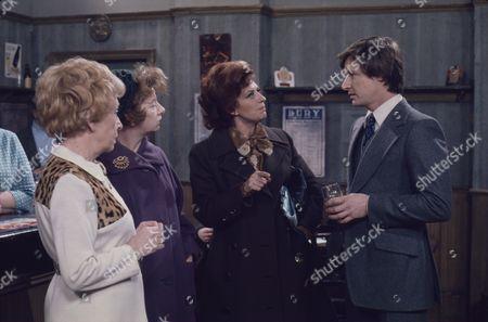 Doris Speed (as Annie Walker) Jean Alexander (as Hilda Ogden) Pat Phoenix (as Elsie Tanner) and Wiiliam Roache (as Ken Barlow) Jean Alexander (as Hilda Ogden and William Roache (as Ken Barlow)