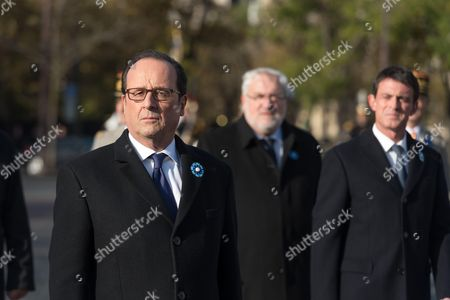 Francois Hollande, French Junior Minister for Veterans and Remembrance, Jean-Marc Todeschini and French Prime Minister, Manuel Valls.