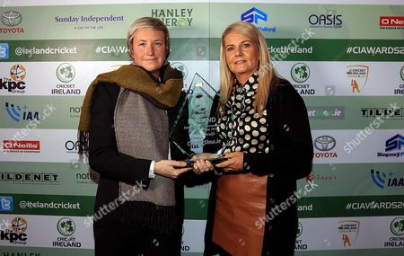 Stock Image of KPC Group Cricket Ireland Awards 2016, Thomas Prior Hall, Dublin 11/11/2016. Cricketshop.ie Women?s International Player of the Year Ciara Metcalfe with Christine O?Donnell, O?Neill?s