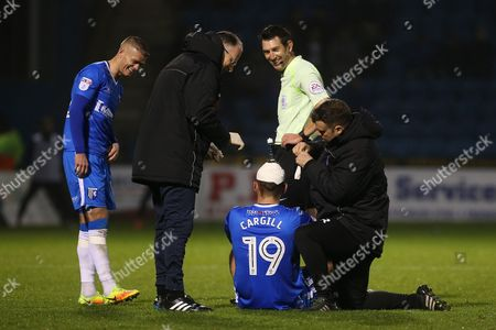 Baily Cargill of Gillingham receives treatment for a cut head to the amusement of teammate, Paul Konchesky and referee, Lee Probert during Gillingham vs Northampton Town, Sky Bet EFL League 1 Football at the MEMS Priestfield Stadium on 12th November 2016