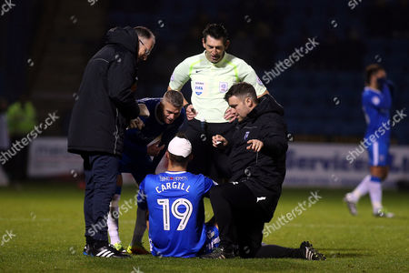 Baily Cargill of Gillingham receives treatment for a cut head as teammate, Paul Konchesky and referee, Lee Probert look on during Gillingham vs Northampton Town, Sky Bet EFL League 1 Football at the MEMS Priestfield Stadium on 12th November 2016