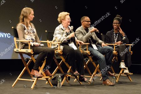 Filmmakers Abby Ginzberg and Frank Dawson (center) on a panel after screening of their film 'Agents of Change' at NYC Documentary Film Festival at School of Visual Arts Theater.