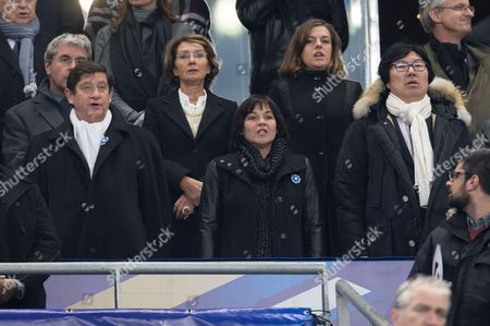 Sports Minister Patrick Kanner, Annick Girardin et Jean-Vincent Place attend the World Cup Group A qualifying soccer match between France and Sweden at the Stade de France stadium