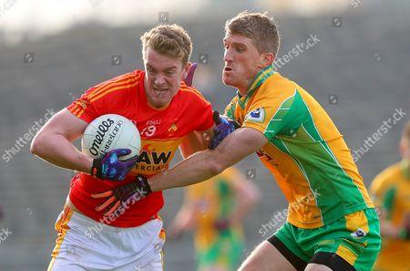 Castlebar Mitchels vs Corofin. Castlebar?s Danny Kirby and Kieran Fitzgerald of Corofin
