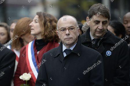 French Interior Minister Bernard Cazeneuve and Claude Bartolone at Stade de France in Saint-Denis near Paris
