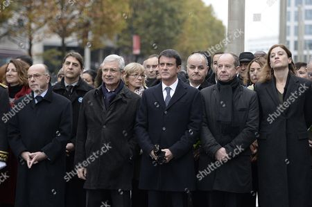 French Interior Minister Bernard Cazeneuve, Claude Bartolone, French Prime Minister Manuel Valls, French Justice Minister Jean-Jacques Urvoas and Juliette Meadel at Stade de France in Saint-Denis near Paris