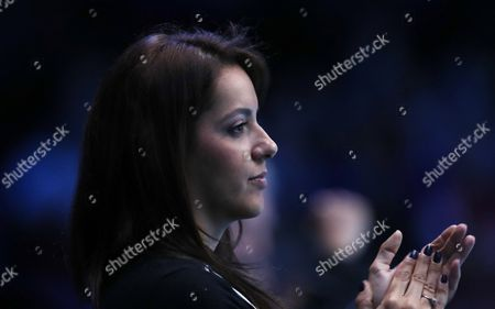 Jamie Murray and Bruno Soares win there first match in Round Robin Doubles Tournament  against Huey and Mirnyi  played at O2 Arena  London on 13th November 2016 watched by Jamie's Wife Alejandra Gutierrez